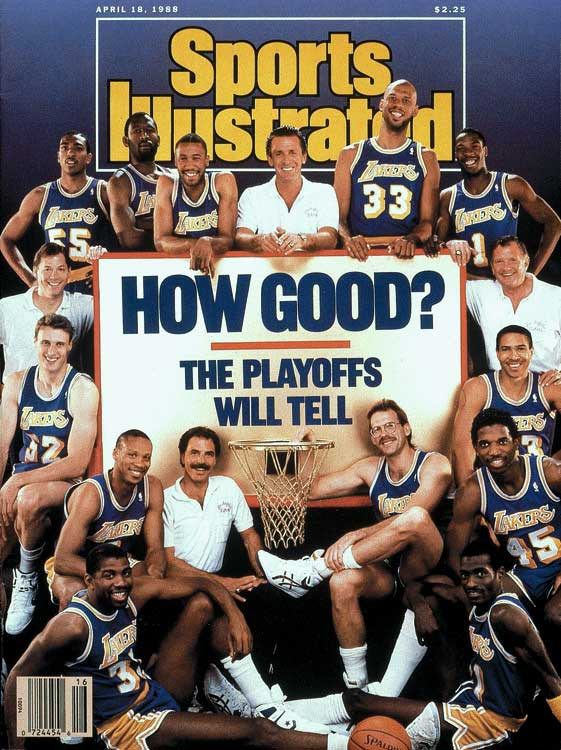 "This edition of the Purple and Gold won ""only"" 62 games and needed the full seven to beat the Pistons in the Finals. But remember that this was the team that coach Pat Riley ""guaranteed"" would defend the previous year's title, thus reversing a no-repeat trend that went back to the '67-68 and '68-69 Celtics. Now, that was pressure."