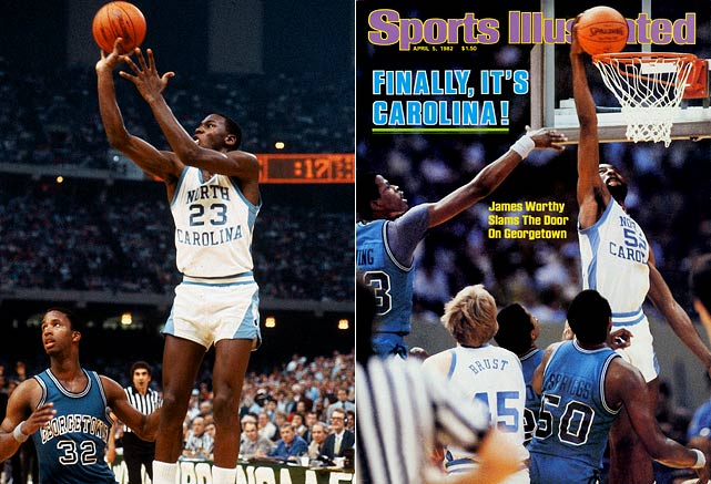 A freshman named Michael Jordan nailed a jumper to put the Tar Heels up with fewer than 20 seconds on the clock before Hoyas guard Fred Brown mistook UNC's James Worthy for a teammate and passed him the ball, sealing the game for Carolina. The win gave coach Dean Smith his first title, and sent home a vaunted Georgetown team featuring dominant freshman center Patrick Ewing, who scored 23 points and grabbed 10 boards in the championship game.
