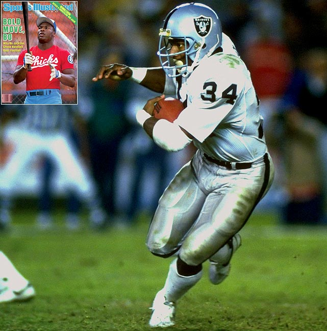 In 1986, Bo Jackson ran the fastest verifiable 40-yard dash in NFL combine history, at 4.12 seconds. With that in mind, Tampa Bay made him the top pick of the NFL Draft, only to issue him an ultimatum: baseball or football? Bo chose baseball's Kansas City Royals, until the following year's NFL Draft, when he was selected in the 7th round by the Oakland Raiders. Legendary Raiders owner Al Davis allowed Jackson to play part-time as he juggled All-Star caliber careers in two professional sports.