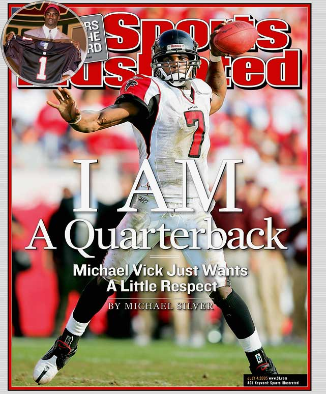 Atlanta selected Vick with the first overall pick following an electric collegiate career at Virginia Tech. The multi-talented quarterback made three Pro Bowls and led the Falcons to the NFC Championship Game in 2004 while finishing second in the MVP voting. But a 2007 indictment on federal dog fighting charges led to a 23-month prison sentence at the U.S. Penitentiary in Leavenworth, Kansas. Vick returned to the field in 2009 with the Philadelphia Eagles after his indefinite suspension was lifted, playing sparingly behind starter Donovan McNabb.