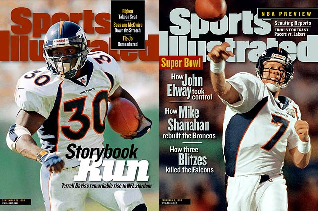Denver opened the '98 season with 13 straight victories and never looked back. Broncos' running back Terrell Davis rushed for more than 2,000 yards and 21 TD's, and was named NFL MVP. Denver won their second consecutive NFL title in Super Bowl MVP John Elway's final season.