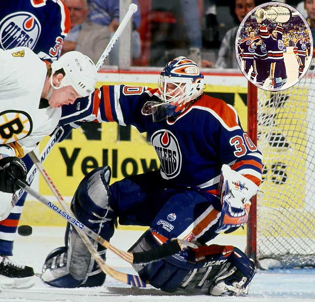 The MVP of the Oilers' fifth and last (to date) Cup, the backup netminder was acquired from Boston in 1988, replaced the great Grant Fuhr as starter the following season, and rescued Edmonton from a 3-1 first-round hole against Winnipeg. Ranford, 23, came back to haunt his old team in the Cup final by making 50 saves in a 3-2 triple win in Game 1 that stands as the longest overtime match in Cup finals history. His postseason slate that year: 16-6 with a 2.53 GAA in 22 games.