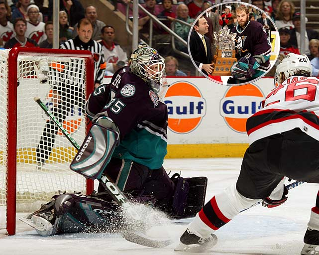 The fifth and most recent playoff MVP from a team that lost the Cup final, Giguere, 25, had a breathtaking run with the upstart Mighty Ducks of Anaheim. Five of his 15 wins were shutouts and he posted a miserly 1.62 goals-against average in 21 postseason games while knocking off Detroit, Dallas and Minnesota before falling to New Jersey in seven games.