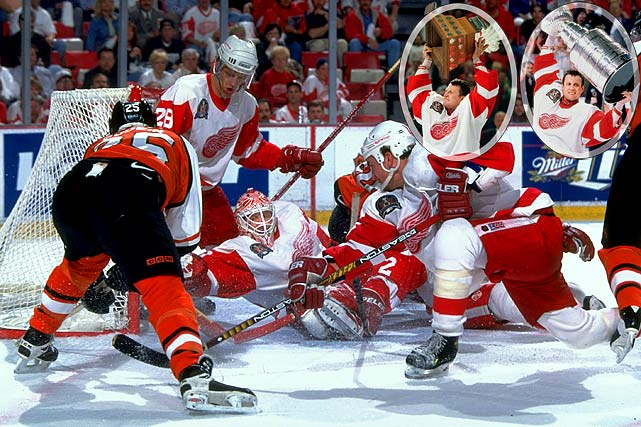 A veteran of two Stanley Cup finals with Calgary -- he lost to Montreal in 1986 and won the Cup in 1989 --Vernon was acquired by the Red Wings in 1994 and helped them reach the '95 final. But `97 was a truly special year. After starting the season as Chris Osgood's backup, Vernon was made the playoff starter by coach Scotty Bowman and he won 16 games (with a 1.76 GAA and .927 GAA) and the Conn Smythe as the Red Wings captured their first Stanley Cup in 42 years, with a sweep of Philadelphia.