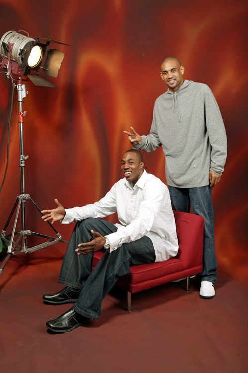 During All-Star Weekend in 2005, Howard and former Magic teammate Grant Hill goofed off for media.