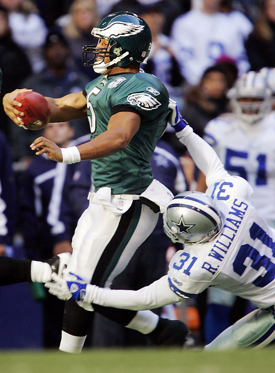 During the 2004 NFL season, NFL officials claimed horse-collar tackles were responsible for six major injuries. The top culprit of such tackling was former Dallas safety Roy Williams, who accounted for four of those injuries, including broken legs for Eagles players Terrell Owens and Donovan McNabb. The league soon after outlawed horse-collar tackles, which occur when a defender drags a player down by the inside-back of his shoulder pads and yanks him to the ground.