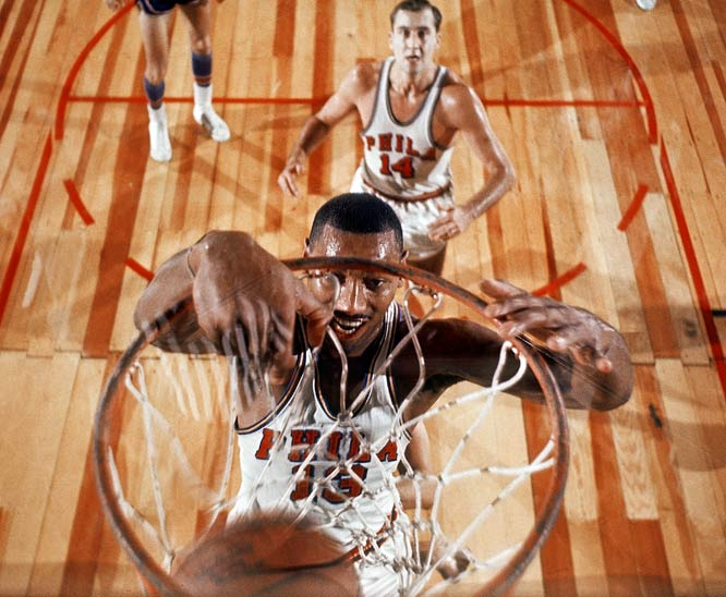 Wilt Chamberlain's dominance in pro basketball forced the NBA to make several rule changes. To slow Wilt's incredible individual power, the league widened the lane and instituted offensive goaltending. The NBA also revised its rules on free throw shooting to prevent players from landing over the free throw line. Prior to this change, Wilt would jump from behind the line and drop the ball in the hoop with ease.