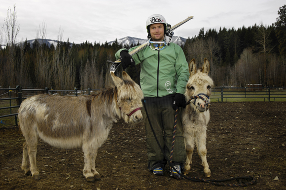"Patrick, the 2009 freestyle skiing world champion, says his dad spotted Carlos and Shawnie at a horse auction. ""My mom didn't really want one, but when she wasn't looking, he went over and bid,"" Patrick says. The donkeys aren't strong enough to do much heavy lifting now, but when they're older ""we want to get them hooked up to a cart. They could pull like two or three people."""