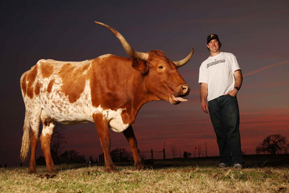 The Pittsburgh Pirates pitcher has about 300 longhorn cattle at his family ranch in Texas.