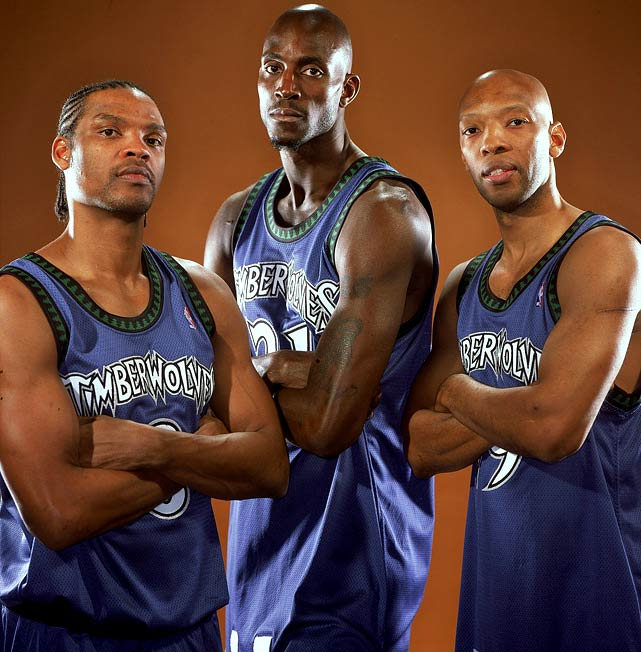 After years of first-round playoff exits, Garnett was joined by Latrell Sprewell and Sam Cassell for the 2003--04 season. KG was named NBA MVP after averaging 21 points, 12 rebounds, and 5 assists and the Timberwolves advanced to the Western Conference Finals before bowing out to the Lakers.