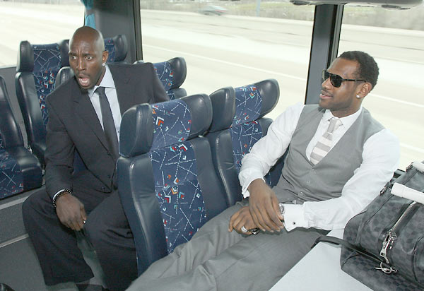 Garnett and LeBron James share a laugh on the bus ride to the stadium prior to the 2010 NBA All-Star game in Dallas.