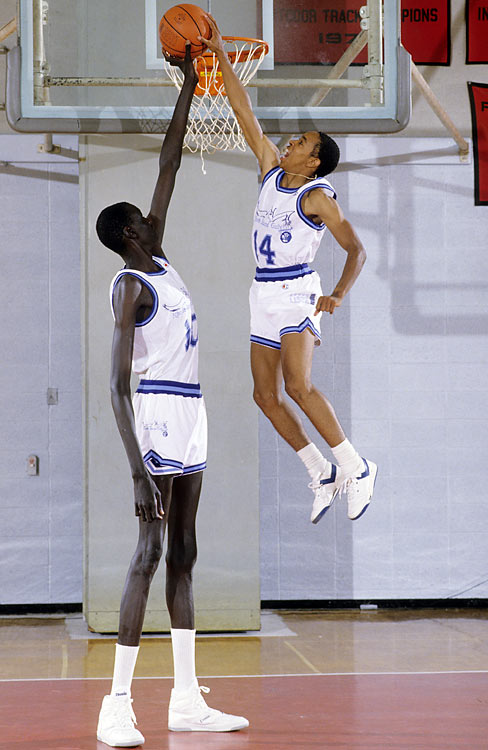 After a season at Bridgeport, the 7-foot-6 Bol signed with the United States Basketball League's Rhode Island Gulls, where he teamed up with 5-7 Spud Webb.