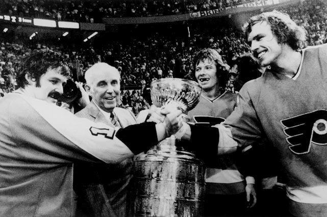 The Flyers' thirst for a Cup dates back to their legendary Broadstreet Bullies, who won it 1974 and '75. They reached the '76 final, but were swept by a Montreal Canadiens team that was beginning a run of four straight Cups. Dynasties seem to a regular obstacle for Philly. Later editions of the Flyers battled for the old mug in 1980 (losing to the budding dynasty Islanders in six), 1985 (the dynastic Oilers in five), 1987 (Oilers in seven) and 1997 (Detroit in four).