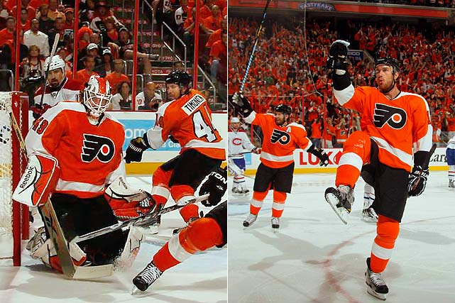 By qualifying for the playoffs via a shootout win over the New York Rangers in their final regular season game, the Flyers -- who had the NHL's 18th-best record (41-35-6 for 88 points) -- may be the most unlikely Stanley Cup finalist since the league's 1967 expansion. Their road included only the third comeback from a three-games-to-none deficit and a reliance on two journeymen goalies (Brian Boucher, Michael Leighton), all while nursing injuries to key players like Jeff Carter and Simon Gagne.