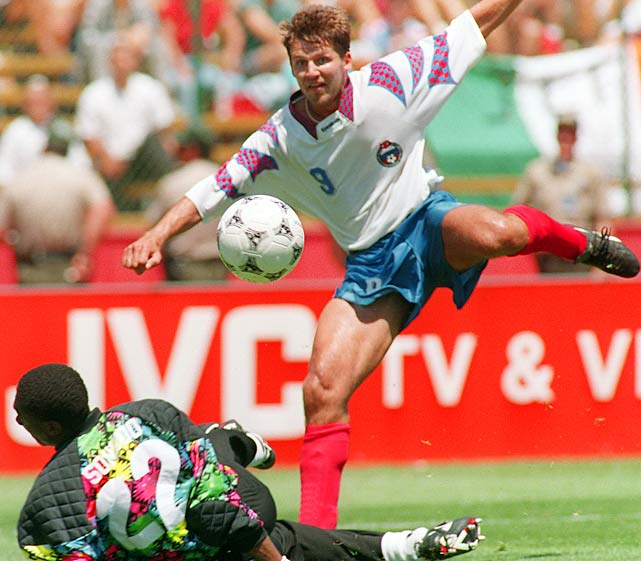Oleg Salenko (pictured) and Hristo Stoichkov shared the overall mark, but Salenko scored five of his six goals in one game against Cameroon. As for Stoichkov, his six goals helped Bulgaria reached the semifinals.