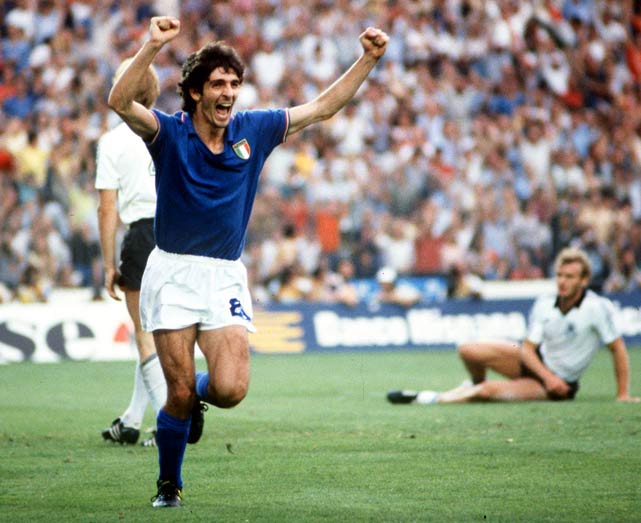 Rossi's six goals paced Italy to the 1982 World Cup title, most memorably paced by his hat trick in the quarterfinal against Brazil.