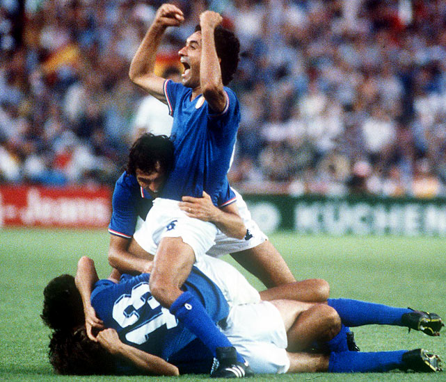<p>In the first 24-team finals (eight more than in '78), Italy unexpectedly matched Brazil with its third title. West Germany and Brazil were the favorites and both won every game in qualifying, but Italy, led by Paolo Rossi, who had recently returned from a match-fixing suspension, knocked off both en route to victory.</p>