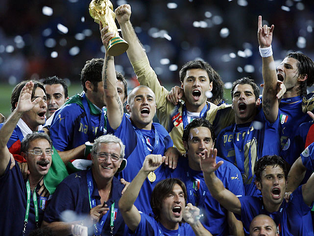<p>Italy went unbeaten in the group stages and was then inconsistent through the knockouts, but deservedly took an extra-time victory over host Germany in the semis before beating France on penalties in the final. The French had started to dominate into extra time, but Zinedane Zidane's headbutt on Marco Materazzi left it a man down, and David Trezeguet's missed penalty handed Italy a fourth World Cup.</p>
