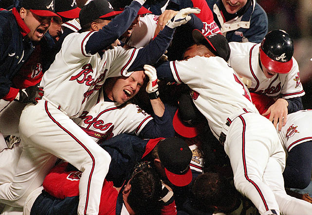 """The Braves closed out the 1995 World Series with a 1-0 win in Game 6 at Atlanta-Fulton County Stadium behind eight innings of one-hit ball from Tom Glavine. The title was the Braves' first since the franchise moved to Atlanta, and a relief for a team that won division titles in 1991, 1992 and 1993 and league pennants in '91 and `92. As NBC's play-by-play man Bob Costas put it, """"the team of the '90s has its World Championship!"""""""