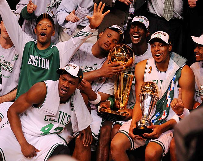 The Celtics' championship-clinching victory in 2008 was one big Boston party. Led by Kevin Garnett's 26 points and 14 rebounds, and the exceptional play of young point guard Rajon Rondo (21 points, 8 rebounds, 7 assists, 6 steals), Boston blew out the Lakers 131-92 at TD Banknorth Garden to capture the franchise's 17th NBA title, and first over the Lakers since 1984. By halftime the Celtics lead was over 20 points, prompting the crowd of more than 18,000 to begin the celebration in the third quarter.