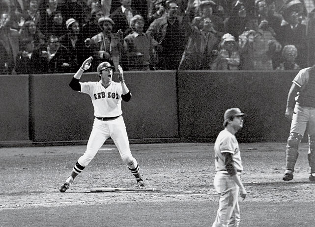 "Carlton Fisk's walk-off home run in the bottom of the 12th inning is considered one of the most dramatic moments in baseball history. Fisk hit a high fly ball down the left-field line toward the corner of the Green Monster and began ""waving it fair,"" flailing his arms in hopes of urging the ball to stay in fair territory. It did, and the Red Sox evened the Series with the Cincinnati Reds. The Reds won Game 7, but legendary Reds catcher Johnny Bench likened the sixth game to a heavyweight title fight."