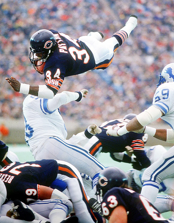 Chicago Bears running back Walter Payton passed Jim Brown (12,312 yards) as the all-time rushing leader in the third quarter of the Bears' 20-7 victory over New Orleans in October 1984. Payton took a pitchout from quarterback Jim McMahon and dashed into the record books with a 6-yard run. As soon as the play was over, cameramen and photographers rushed onto the field to capture Payton exchanging high-fives with teammates. Payton finished the game with 154 yards, his record-setting 59th career 100-yard game.