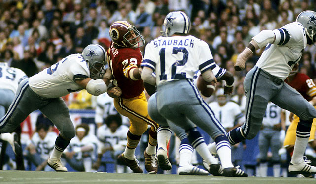 Cowboys quarterback Roger Staubach scored two touchdowns in the final minutes of the fourth quarter, leading his team to a 35-34 victory against the Redskins in the final 2:20 of the game in Texas Stadium. The win allowed the Cowboys to steal away a NFC East title and a spot in the playoffs from the Redskins.