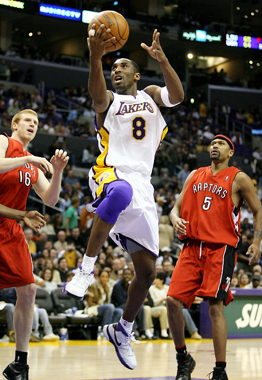"""In a January 2006 regular season game against the Toronto Raptors, Kobe Bryant treated L.A. fans to a performance for the ages. Kobe rallied the Lakers from an 18-point deficit by scoring 81 points on 28-of-46 shooting, including seven 3-pointers. Staples Center erupted into chants of """"MVP! MVP!"""" as he poured in his final points from the free-throw line late in the fourth quarter. Oh, and the Lakers won the game by 18. Bryant's 81 points are second only to the 100-point performance of Wilt Chamberlain in 1962."""