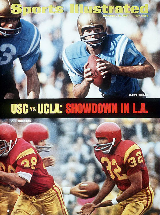 With 10 minutes to play in the fourth quarter and O.J. Simpson's Trojans trailing by six, the junior tailback took a handoff, sprinted to the left sideline, then turned back inside and took it 64 yards to the house for an electrifying touchdown. USC held on for an upset 21-20 victory, cementing Simpson's legend and marking a signature moment in the L.A. colleges' rivalry.