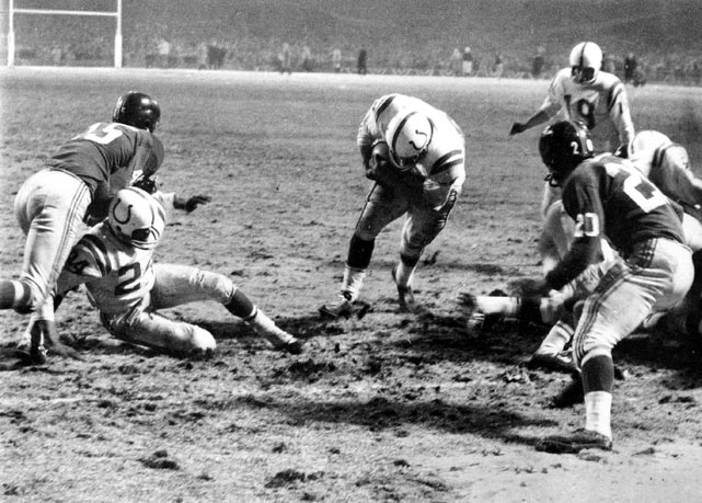 The Baltimore Colts met the New York Giants at Yankee Stadium in 1958 for the NFL Championship game. The Colts outlasted the G-men 23-17 thanks to a one-yard touchdown run by Alan Ameche in the first sudden-death overtime in league history. The game was televised on NBC to a national audience of more than 50 million viewers, helping launch the NFL's popularity across the country. And, with 17 future Hall of Famers on the field, including legendary Colts' QB Johnny Unitas, it's no surprise it was immortalized in football lore as The Greatest Game Ever Played.