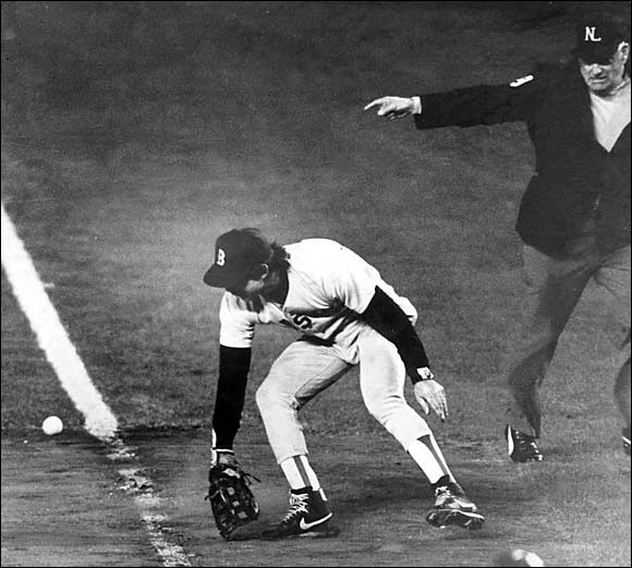 The Red Sox jumped to a 3-2 series lead in the 1986 World Series and looked to wrap up the titlewhen the teams headed back to New York. But with Game 6 tied with 2 outs in the bottom of the10th inning, Mets' left fielder Mookie Wilson bounced a grounder toward first base, where Boston first baseman Bill Buckner allowed the ball to squirt between his legs. Ray Knight scored from second to give the Mets the series-tying win. New York carried the momentum to a Game 7 victory and its second World Series championship.