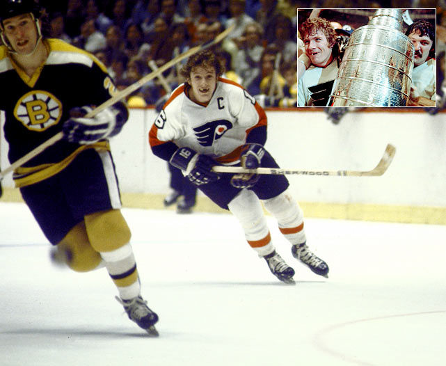 The Boston Bruins had won the '72 Cup and had home-ice advantage, while Philly was still trying to fight the stigma of being an expansion franchise building a tradition. That's not to mention the record itself -- the Bruins had taken 17 of the previous 19 matchups with Philadelphia. The Bruins won Game 1 but the Flyers didn't back down and won three straight games before losing Game 5. Only one goal was scored in Game 6 at The Spectrum, by Philly's Rick MacLeish, and it proved to be enough as the Flyers shut out the Bruins for their first-ever Stanley Cup.