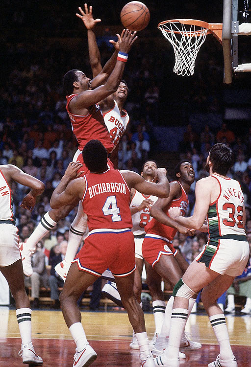 "Thanks in part to the acquisition of star big man Moses Malone, Philadelphia finished the 1982-1983 NBA season with the best record in the league at 65-17 and the top seed in the Eastern Conference playoffs. When Malone was asked for a prediction before the postseason, he replied with the now-famous phrase, ""Fo'-Fo'-Fo',"" as in, each series would last just four games, in favor of the 76ers. And the Sixers nearly proved him right, providing one of the most dominant performances in playoff history, going 12-1 (including a sweep of the L.A. Lakers in the NBA Finals). Philly fans amended Malone's prediction to ""Fo'-Five-Fo'"" to honor the last Sixers title team."