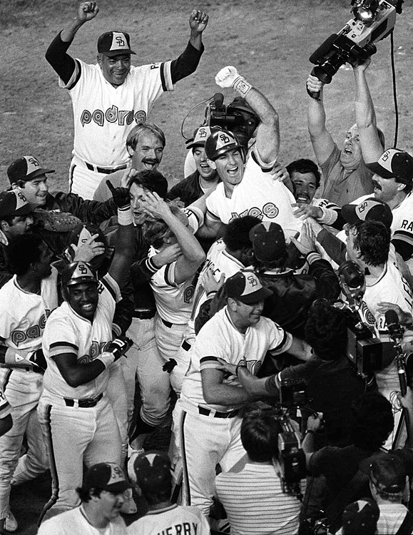 """The Padres met the Cubs in San Diego's first-ever postseason series, and after two losses in Chicago, things looked dim for the Pads. When the series headed to Jack Murphy Stadium in San Diego, the Padres reversed the momentum and rallied to win three straight games. While San Diego celebrated the National League pennant, the Cubs' disastrous breakdown became part of the """"Curse of the Billy Goat."""""""