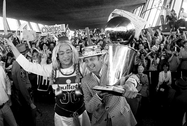After a Game 7 win in Seattle, Washington celebrated its only NBA Championship in franchise history. Led by Hall of Famers Elvin Hayes and Wes Unseld, the Bullets paraded in downtown with late owner Abe Pollin at the center of the victory cruise. The winning moment happened across the country, but the hometown fans gathered in the streets to congratulate the squad.