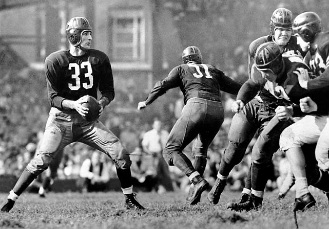 <p>Sammy Baugh's Redskins defeated the rival Chicago Bears 14-6 in one of the game's biggest upsets. Just two years earlier, the Bears had destroyed the Redskins 73-0 in the title game.</p>