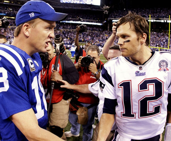 Brady's Patriots or Manning's Colts have won the Super Bowl in three of the past five seasons. Individually, either Brady or Manning has won three of the past five MVP awards.  But when they meet on the field, the Patriots have had a slight edge: Brady has led his team to a 5-3 record against Manning and the Colts.
