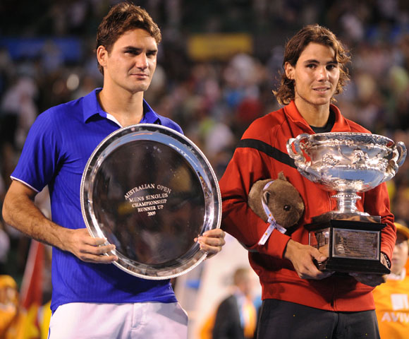 Federer likes the hard-court and Nadal likes the clay, but they both like being the number one tennis player in the world. For five years they have been in a see-saw battle for the top position, having met 17 times in tournament finals (including an all-time record 7 Grand Slam finals). Currently, the 24 year-old Nadal leads their overall head-to-head series 14--7, but the 28 year-old Federer should have a few seasons left to try to even the score.
