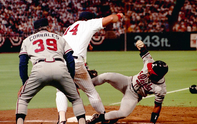 <p>Controversy struck with two outs in the top of the second inning of Game 2 of the 1991 World Series. Atlanta's Ron Gant drilled a single to left field, but after rounding first base too wide, he had to hustle back to the bag to beat the throw. In doing so, Gant appeared to be pulled off the bag by Twins first baseman Kent Hrbek, who looked to have wrapped his arms around Gant's leg and lifted him off the base. Hrbek then tagged Gant, and first base ump Drew Coble signaled the inning-ending out. Gant argued the call in Coble's face, to the point of having to be held back by teammates. Coble maintained that Gant's momentum, not Hrbek, caused him to come off the base.</p>