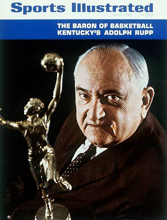 Over the course of 41 seasons as Kentucky's head man, Rupp posted a record of 876-190, winning the NCAA tournament four times (1948, 1949, 1951, 1958) and the NIT once (1946). Rupp was chosen as the national coach of the year four times.