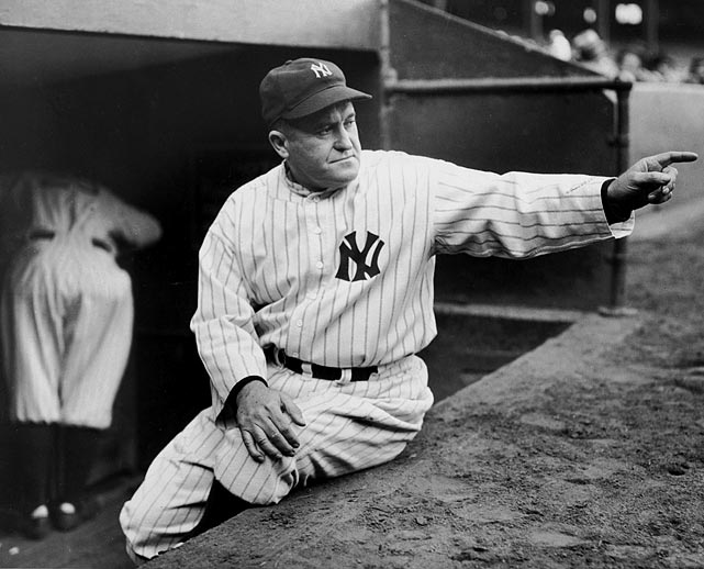 McCarthy managed the Cubs, Yankees and Red Sox from 1926-50, but his most notable achievements came during his 16 seasons in charge of the Bronx Bombers. McCarthy won seven World Series titles with the Yankees, including four in a row from 1936-1939. His career winning percentages during the regular (.615) and postseason (.698, all in the World Series) are both MLB records.