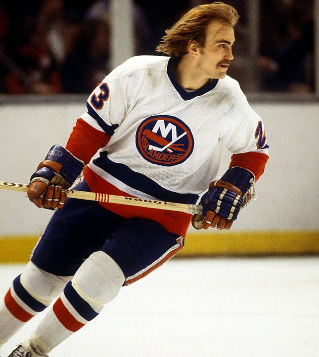 The flowing locks favored by the hard-nosed Islander winger was first made famous by Montreal's great Guy Lafleur...
