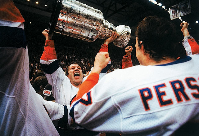 The Isles' fourth straight Cup, earned with a stunning sweep of Wayne Gretzky's up-and-coming Oilers, set a still-unbroken record of successive titles for a U.S.-based team.