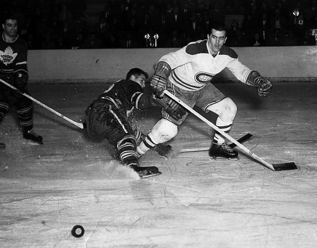 Wearing his then-revolutionary face mask, goalie Jacques Plante backstopped the Canadiens to a still-unbroken record fifth straight Cup. The series, a sweep of Toronto, also marked the end of Rocket Richard's Hall of Fame career. He hung up his skates with an NHL career record of 34 goals in Cup final competition.