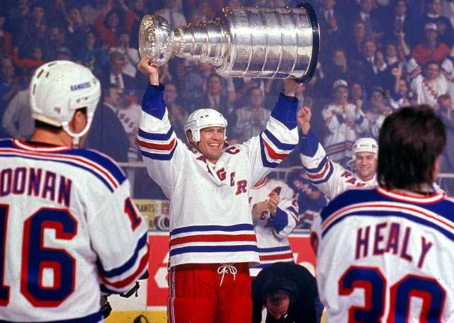 Mark Messier, Mike Richter, and Conn Smythe-winner Brian Leetch led an epic playoff march that snapped the Rangers' record 54-year Cup drought. It ended with an emotional Game 7 victory over Vancouver in New York's roaring Madison Square Garden.