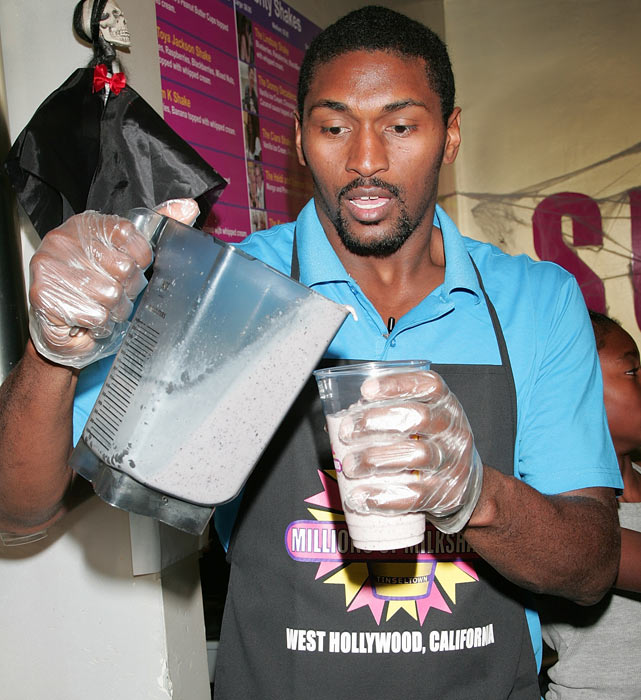 Artest shows off his mixing skills at West Hollywood hotspot Millions of Milkshakes.