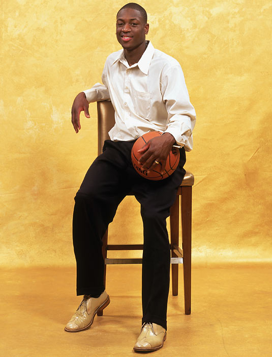 Wade poses for a photo during NBA Draft Media Day in New York City.