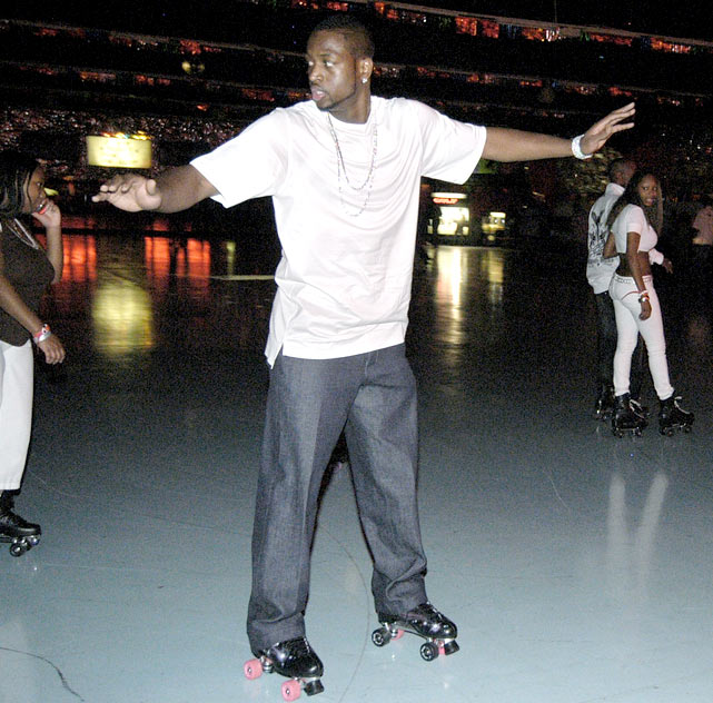Wade shows off his skills at his Young, Fly and Flashy Skating Party in Lynwood, Ill.