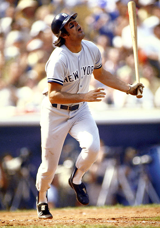 Seen here at the plate against the Los Angeles Dodgers in the World Series, Piniella had a career year in 1977. He batted a career-high .330 and added 12 home runs as the Yankees went on to win their first of two consecutive championships.