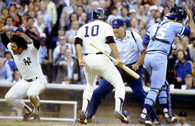 Piniella's legendary nature for managerial fits was also frequently on display as a player, as seen here during the 1978 ALCS. Piniella and the Yankees would go on to win the World Series that year.